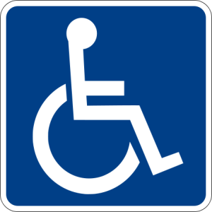 Handicapped Accessible sign -Public Domain -Ltljltlj (talk · contribs) - Own work, made to the specifications of the 2004 edition of Standard Highway Signs (sign D9-6).